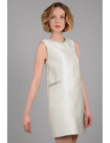 Dress with rhinestone details.