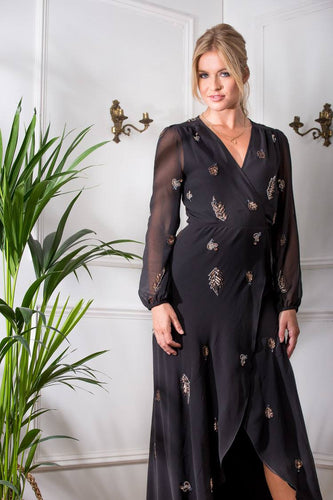 Embellished Maxi Wrap Dress with Blouson Sleeve
