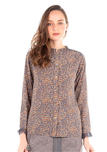 Akino Laude Ladies Grey Blouse with Mustard Brown and White Print