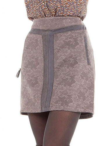 Ladies Grey Lace Print Fitted Skirt