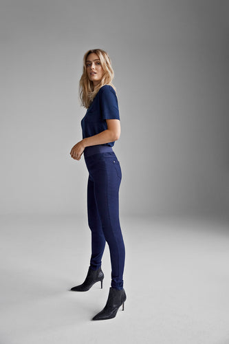 Freequent Ladies High Elastic Waisted Pull On Navy Skinny Trouser