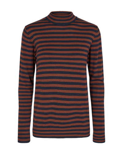 Freequent Ladies Smoked Paprika and Navy Striped Turtle Neck Jumper