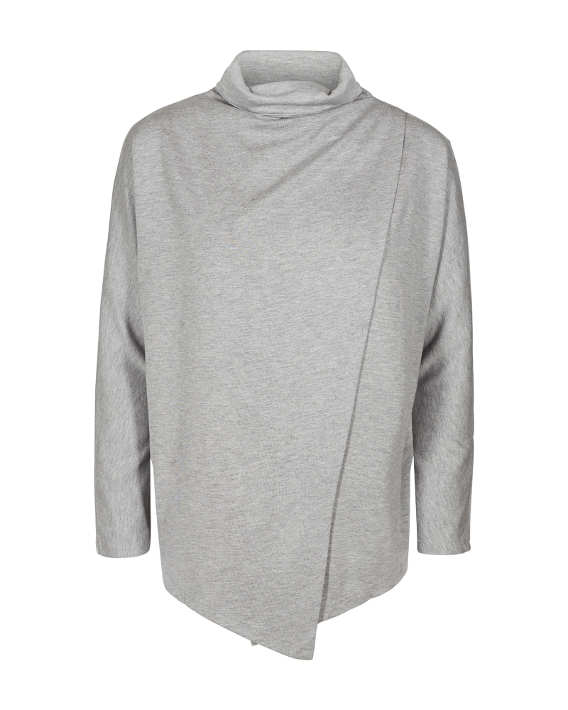 Freequent Light Grey Melange High Cowl Neck Front Wrap Jumper