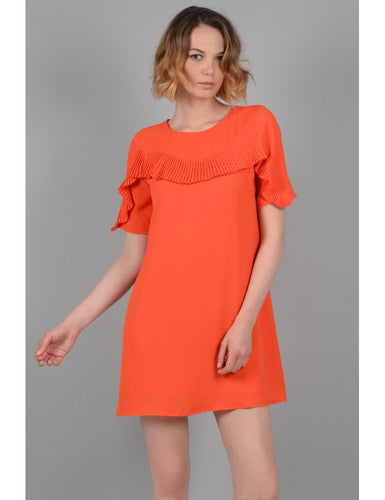 Orange Ruffled Shift Dress