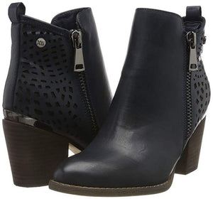 XTI Ladies Navy Perforated Detail Ankle Boot