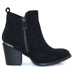 XTI Black Embellished Ankle Boot