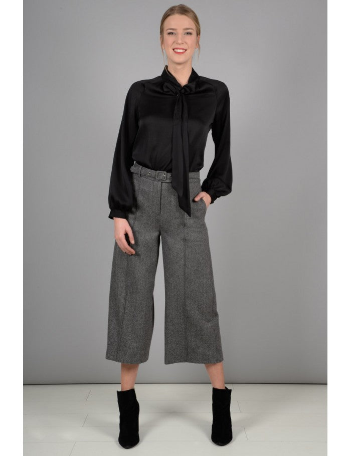 Grey Knitted Trousers Short Length