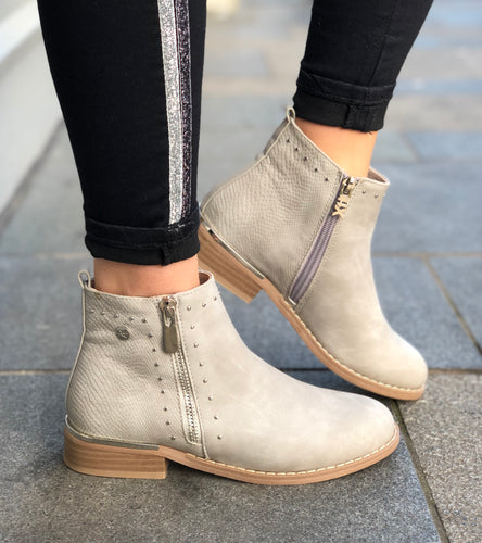 Suede Ankle Boot in Ice