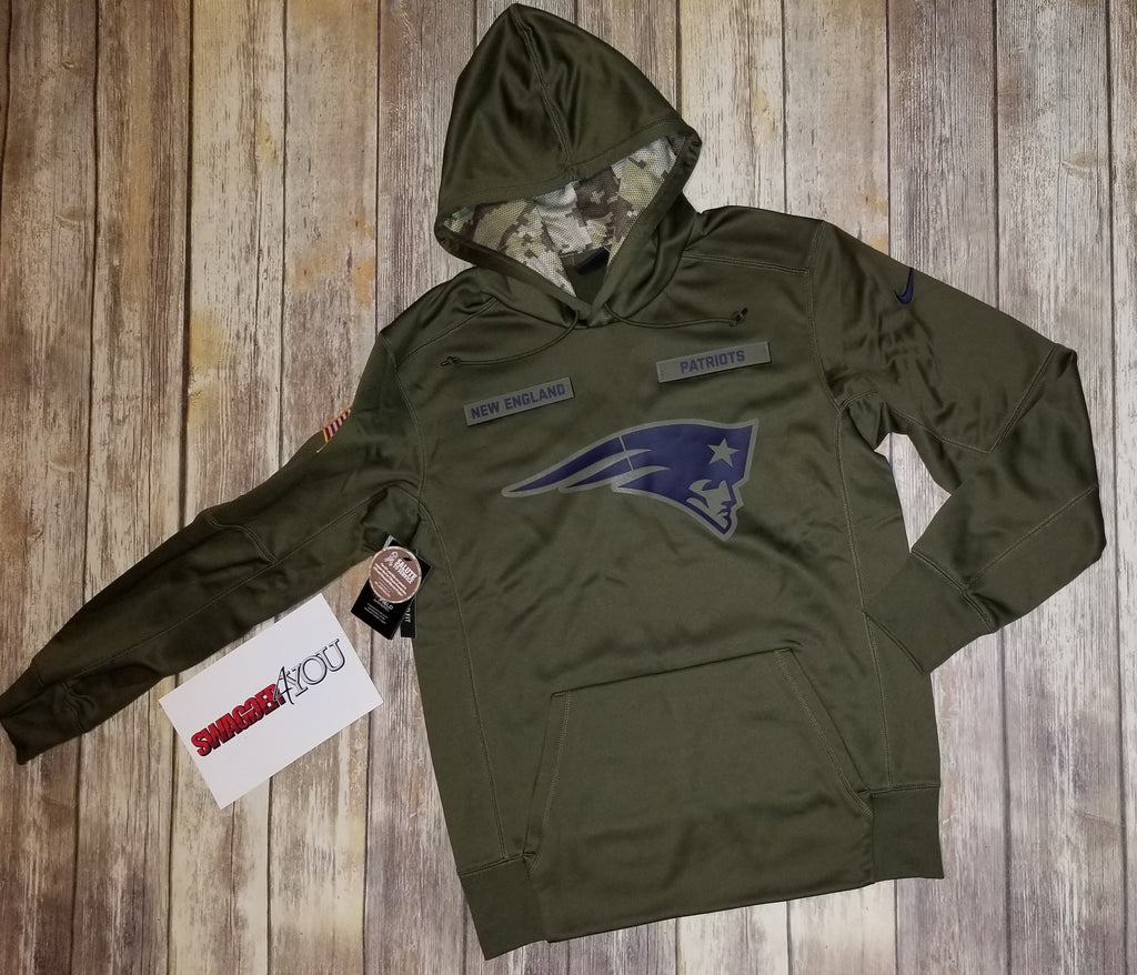 a09d55000 Nike New England Patriots Olive Salute to Service Sideline Therma  Performance Pullover Hoodie