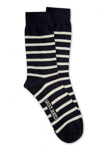 Saint James Breton Navy and Ecru Striped Socks
