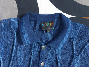 Vintage COOGI 3D knitted polo neck jumper, Made in Australia, Large