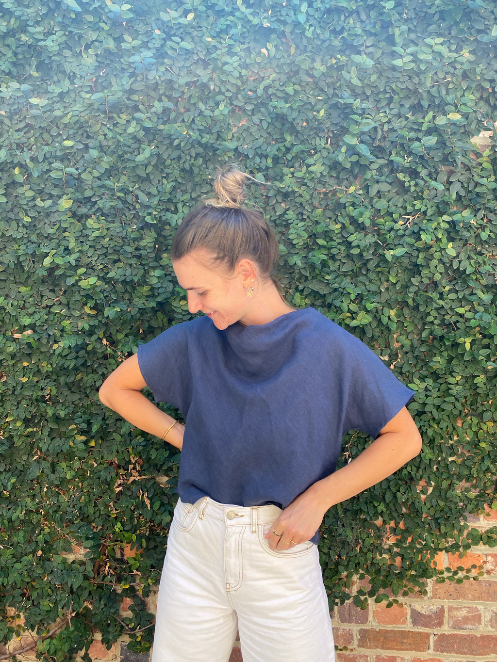 Mock Top Indigo Blue Linen