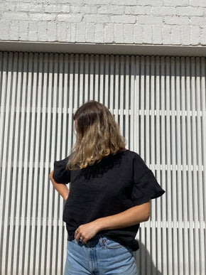 Lea Top Black Linen