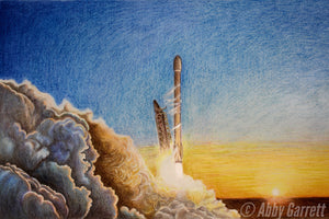 "Falcon 9 Sunset Launch Portrait 12x18"" (Signed Artist Proof)"