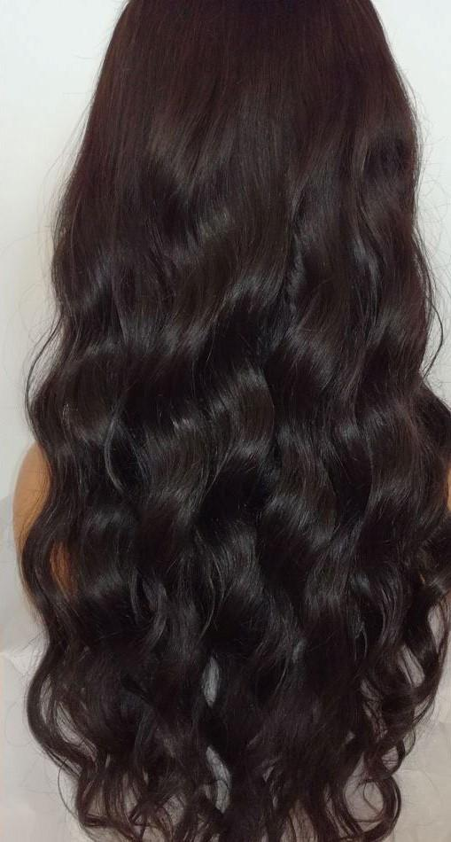 Water Wave Dark Brown Brazilian Remy Lace Wig