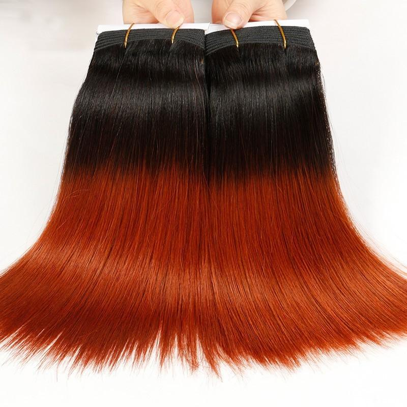 Straight Brown to Orange Ombre Malaysian Hair