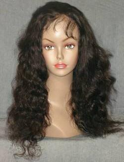 Flowing Curl Dark Brown Indian Remy Lace Wig
