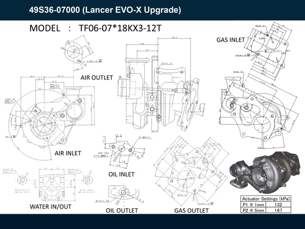 For Lancer EVO-X Upgrade 49S36-07000 NEW OEM MHI TF06-07 Turbo + Air Inlet Pipe