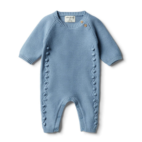 Faded Denim Knitted Growsuit with Baubles