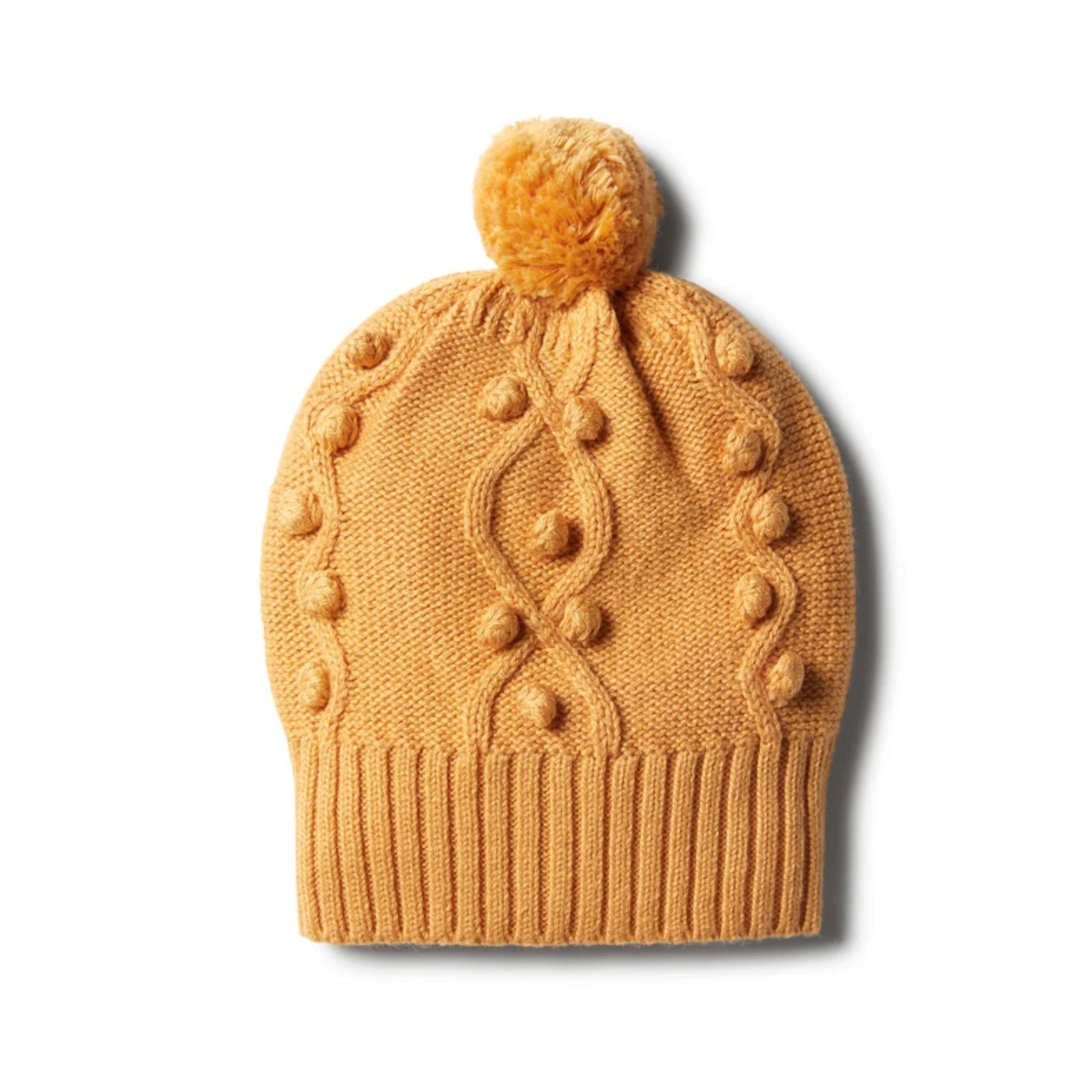Golden Apricot Knitted Hat with Baubles