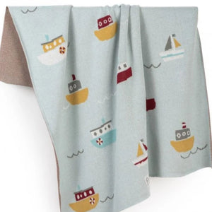 Little Sail Boats Organic Cotton Blanket