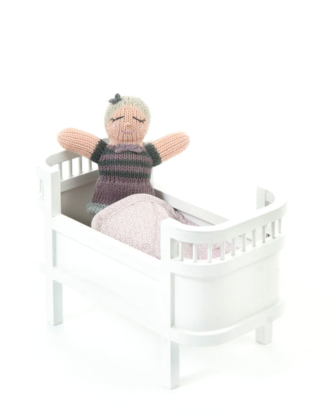 Miniature Doll bed - white or rose pink