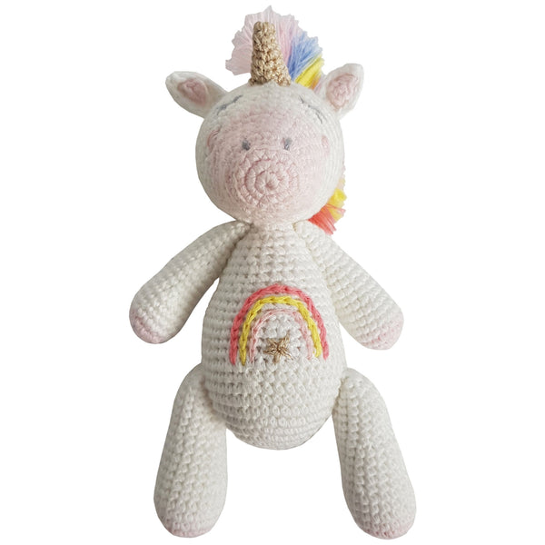 Crochet Unicorn Rattle Toy
