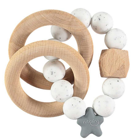 Stellar Natural wood Teething Toy - speckled white
