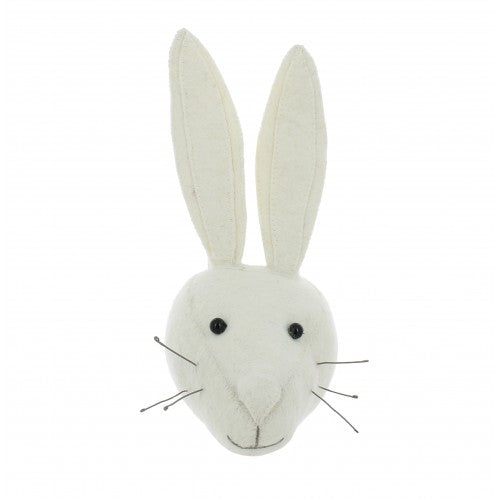 Mini White Rabbit Head Wall Hanging