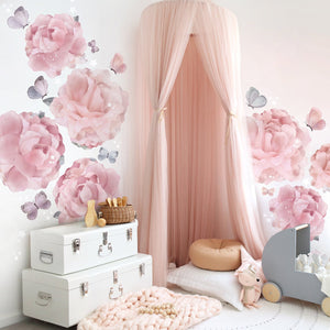 Peonies & Butterflies Wall Sticker for Bedroom or Nursery