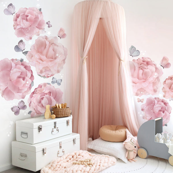Pre-order for delivery mid April - Peonies & Butterflies Wall Sticker for Bedroom or Nursery