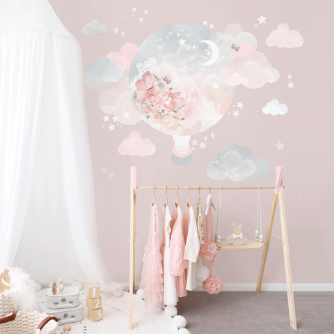 Balloon Dreams Hot Air Ballon Wall Sticker for Bedroom or Nursery