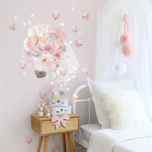 PRE-ORDER for delivery 28th FEB - Unicorn & Butterflies Wall Sticker for Bedroom or Nursery