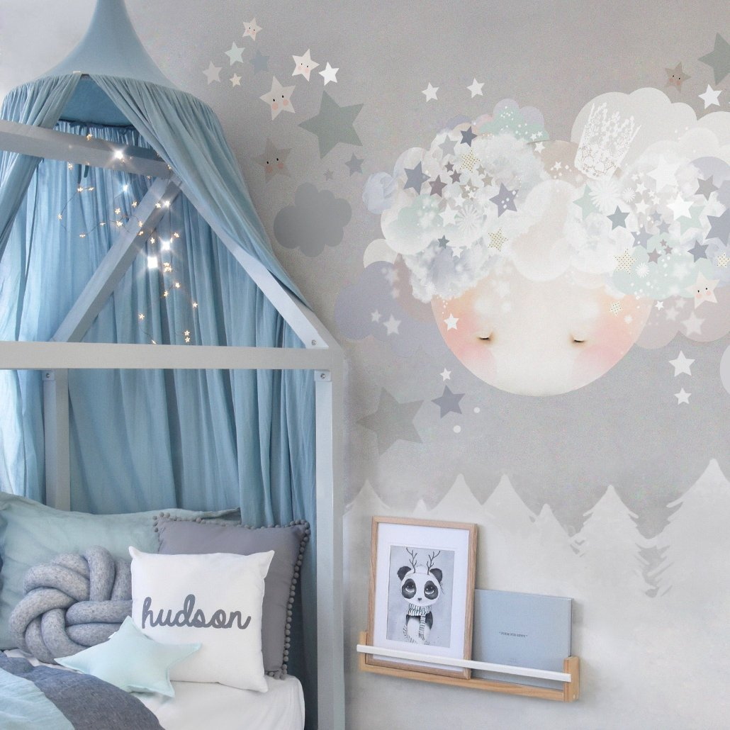 Sleepy Moon Blue Wall Sticker for Bedroom or Nursery