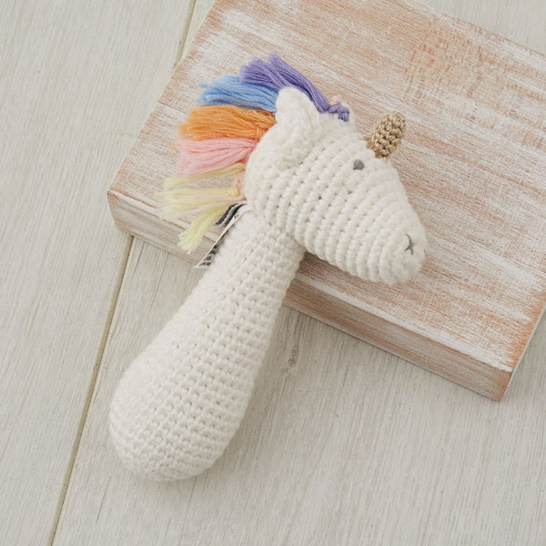 Crochet Rainbow Unicorn Rattle stick