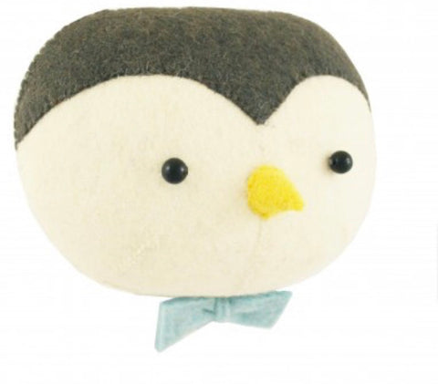 Felt Penguin with bow tie Head Wall Hanging
