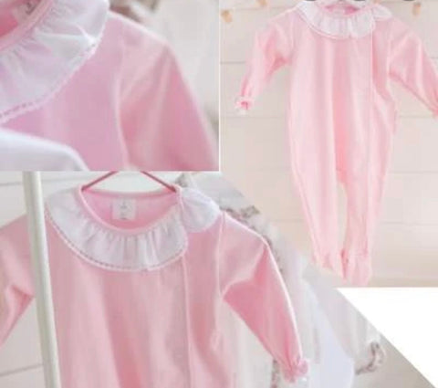 The blush Frilly Collar baby grow