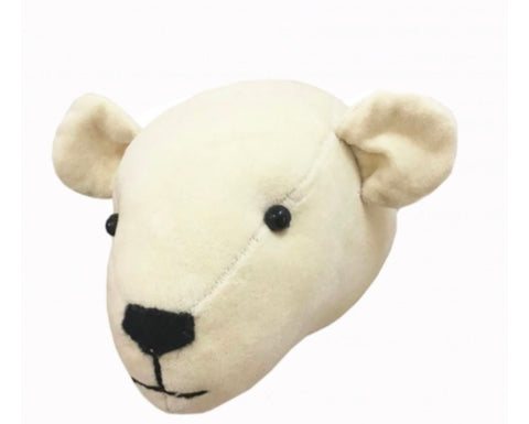 Mini Velvet Polar Bear Head Wall Hanging