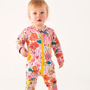 Kip&Co Pinky Field of Dreams Organic Cotton Zipsuit