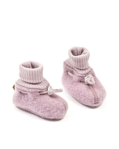 Merino wool baby booties - powder
