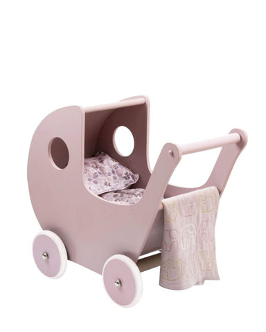 Wooden Dolls Pram - Rose pink