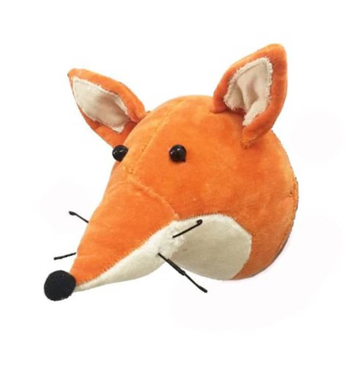 Mini velvet Fox Head Wall Hanging