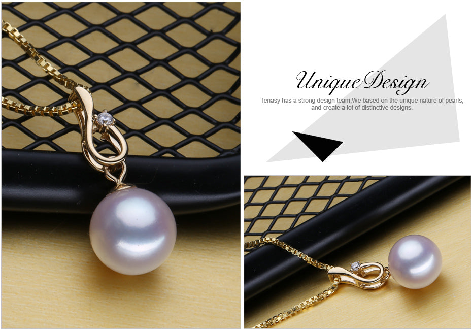 Elegant 18K Gold pendant with Quality Bohemian  Brand pearl  necklaces