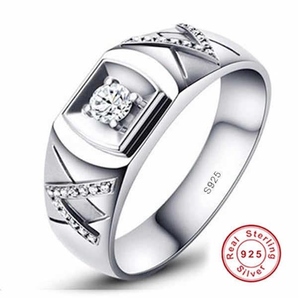 Certified Real 925 Sterling Silver with 0.5 ct CZ Diamond Ring  Engagement Ring.
