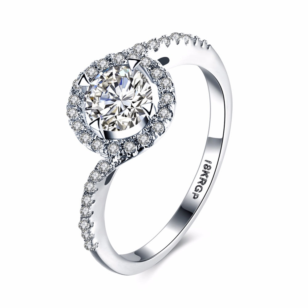 Genuine 18k Gold Plated Ring with  Clear CZ Zircon Diamonds.