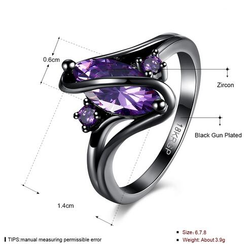 18KGP Black Gold Filled with quality Zircon Crystal fashion women Ring.