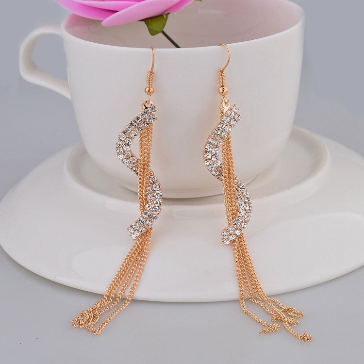 S-Shape Long  Drop Fashion Earrings with Vintage Crystals .Gold & Silver Plated