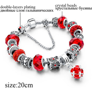 2018 Fashion Crystal Beads Bracelets ,Bangles .Silver Plated Charm  .