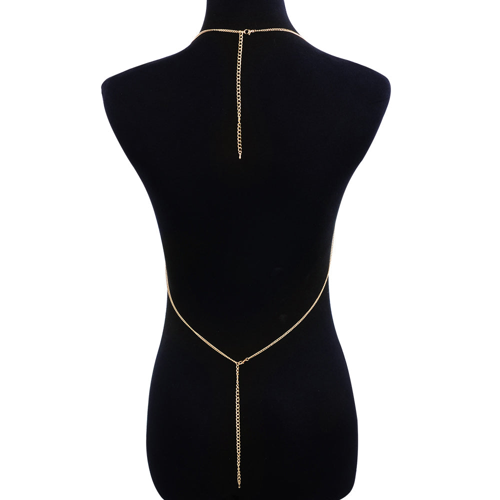 Fashion Design Gold Tassel Multi layer Chain Harness Necklaces.