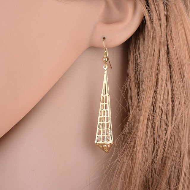 Gold Plated Geometric Drop Earrings with Vintage Crystals